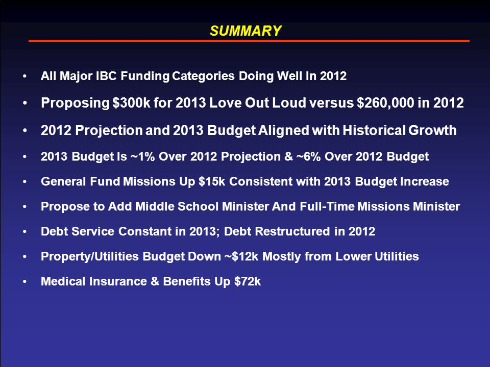 15 SUMMARY All Major IBC Funding Categories Doing Well In 2012 Proposing $300k for 2013 Love Out Loud versus $260,000 in 2012 2012 Projection and 2013