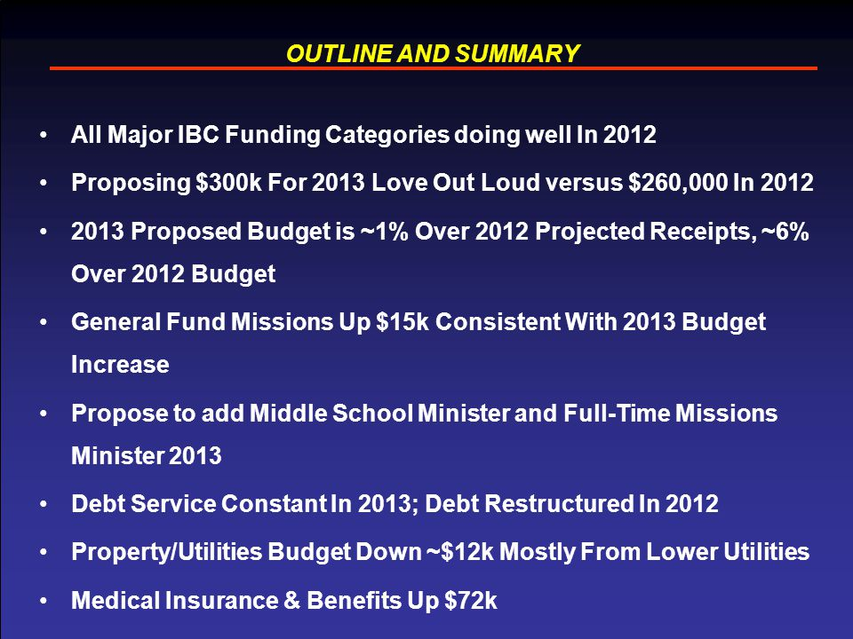 OUTLINE AND SUMMARY All Major IBC Funding Categories doing well In 2012 Proposing $300k For 2013 Love Out Loud versus $260,000 In 2012 2013 Proposed Budget is ~1% Over 2012 Projected Receipts, ~6% Over 2012 Budget General Fund Missions Up $15k Consistent With 2013 Budget Increase Propose to add Middle School Minister and Full-Time Missions Minister 2013 Debt Service Constant In 2013; Debt Restructured In 2012 Property/Utilities Budget Down ~$12k Mostly From Lower Utilities Medical Insurance & Benefits Up $72k