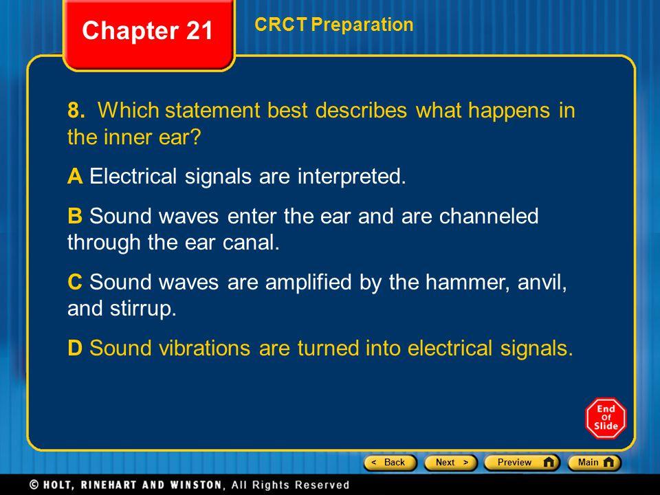 < BackNext >PreviewMain Chapter 21 CRCT Preparation 8.