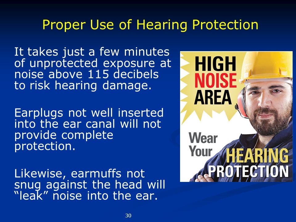It takes just a few minutes of unprotected exposure at noise above 115 decibels to risk hearing damage. Earplugs not well inserted into the ear canal