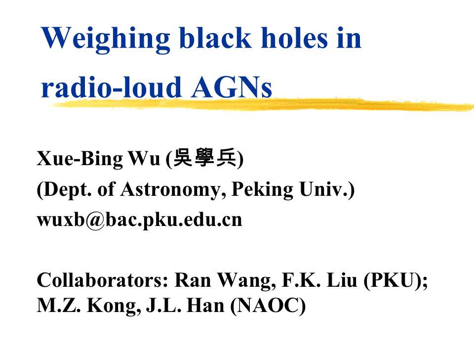 Weighing black holes in radio-loud AGNs Xue-Bing Wu ( 吳學兵 ) (Dept. of Astronomy, Peking Univ.) wuxb@bac.pku.edu.cn Collaborators: Ran Wang, F.K. Liu (