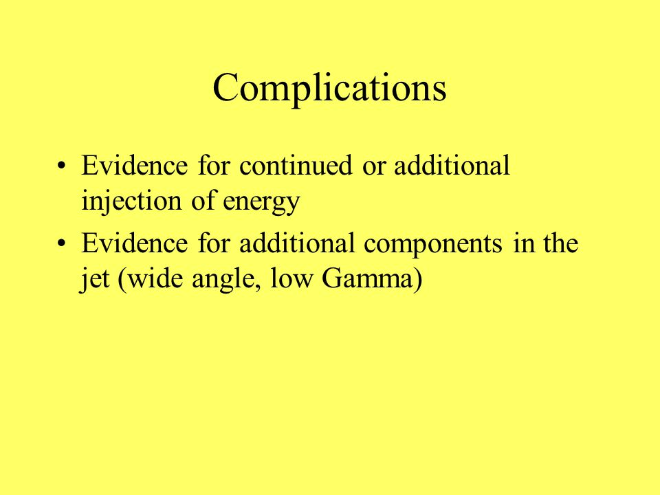 Complications Evidence for continued or additional injection of energy Evidence for additional components in the jet (wide angle, low Gamma)
