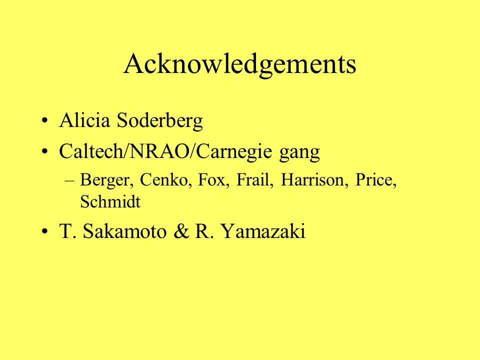 Acknowledgements Alicia Soderberg Caltech/NRAO/Carnegie gang –Berger, Cenko, Fox, Frail, Harrison, Price, Schmidt T. Sakamoto & R. Yamazaki