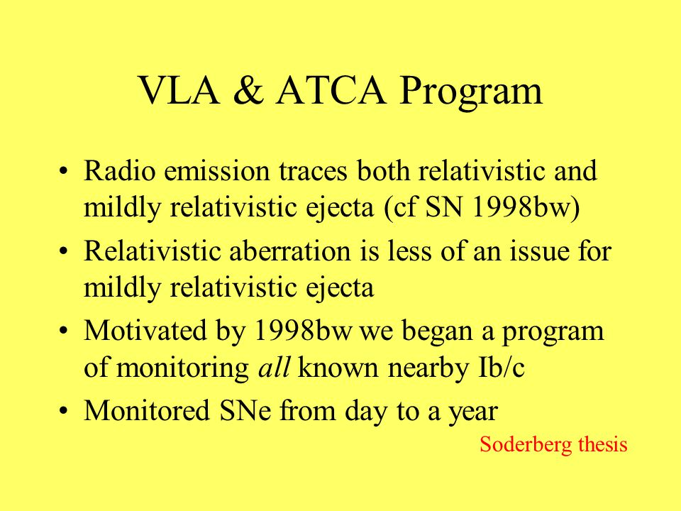 VLA & ATCA Program Radio emission traces both relativistic and mildly relativistic ejecta (cf SN 1998bw) Relativistic aberration is less of an issue for mildly relativistic ejecta Motivated by 1998bw we began a program of monitoring all known nearby Ib/c Monitored SNe from day to a year Soderberg thesis