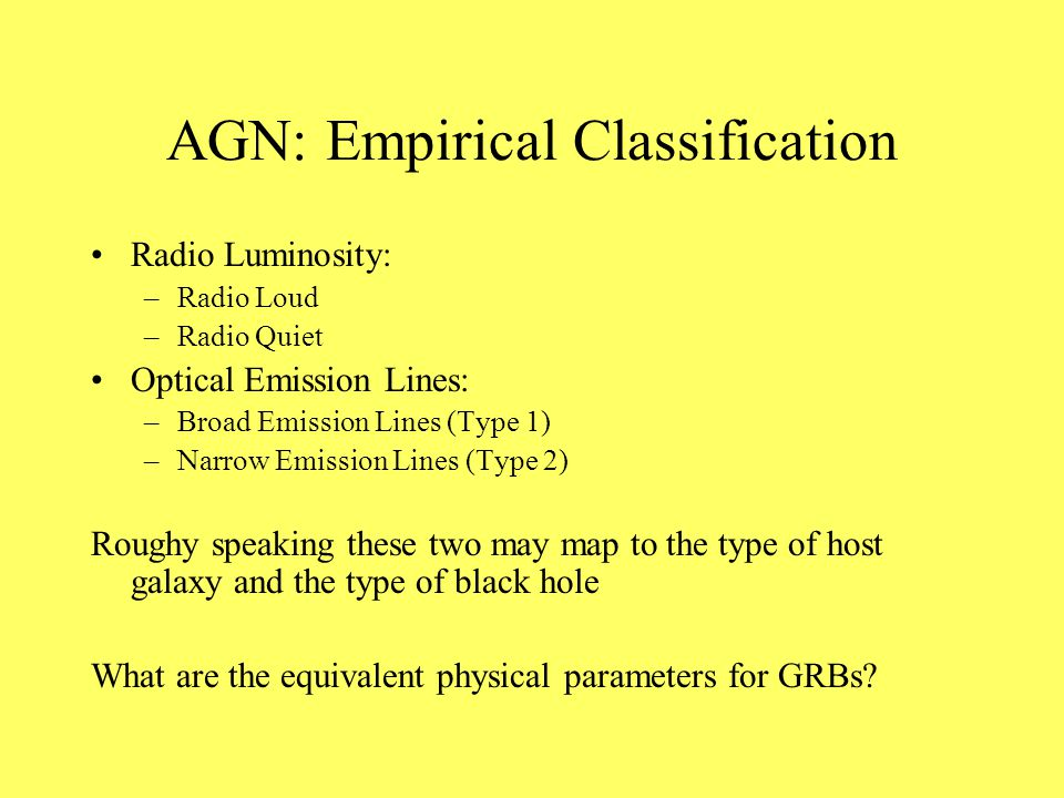 AGN: Empirical Classification Radio Luminosity: –Radio Loud –Radio Quiet Optical Emission Lines: –Broad Emission Lines (Type 1) –Narrow Emission Lines (Type 2) Roughy speaking these two may map to the type of host galaxy and the type of black hole What are the equivalent physical parameters for GRBs?