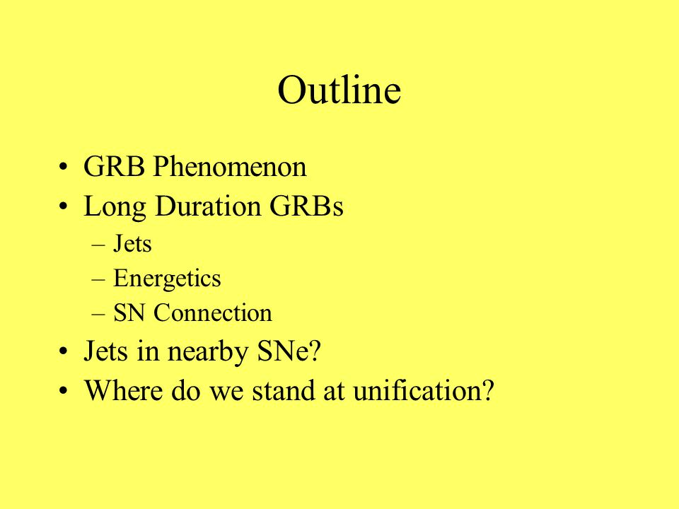 Outline GRB Phenomenon Long Duration GRBs –Jets –Energetics –SN Connection Jets in nearby SNe.