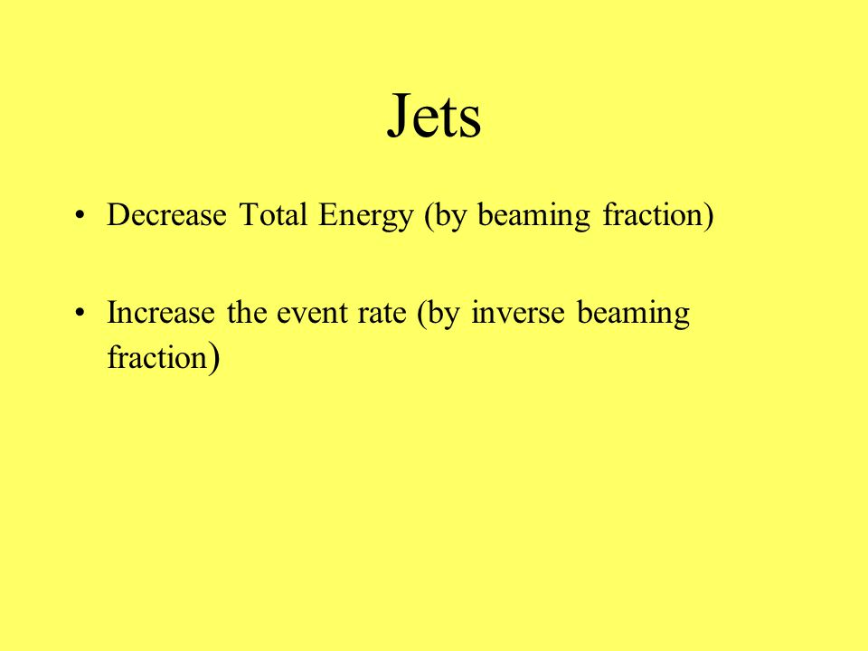 Jets Decrease Total Energy (by beaming fraction) Increase the event rate (by inverse beaming fraction )