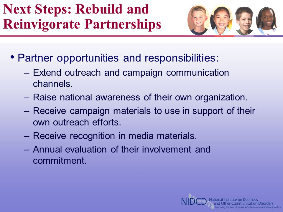 Partner opportunities and responsibilities: –Extend outreach and campaign communication channels. –Raise national awareness of their own organization.