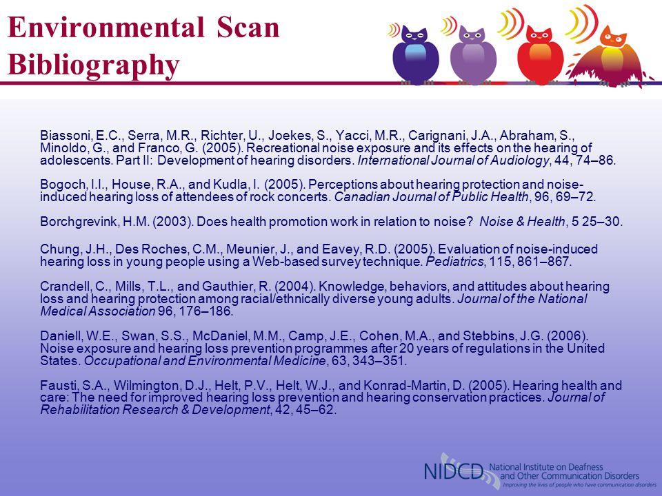 Environmental Scan Bibliography Biassoni, E.C., Serra, M.R., Richter, U., Joekes, S., Yacci, M.R., Carignani, J.A., Abraham, S., Minoldo, G., and Franco, G.