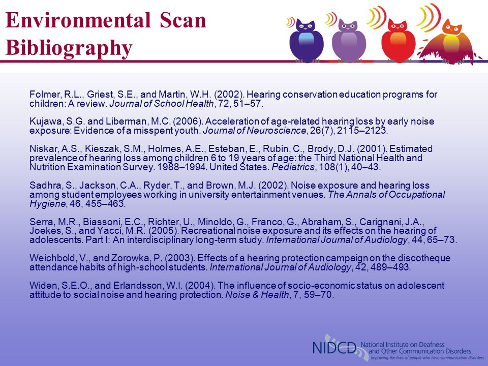 Environmental Scan Bibliography Folmer, R.L., Griest, S.E., and Martin, W.H. (2002). Hearing conservation education programs for children: A review. J