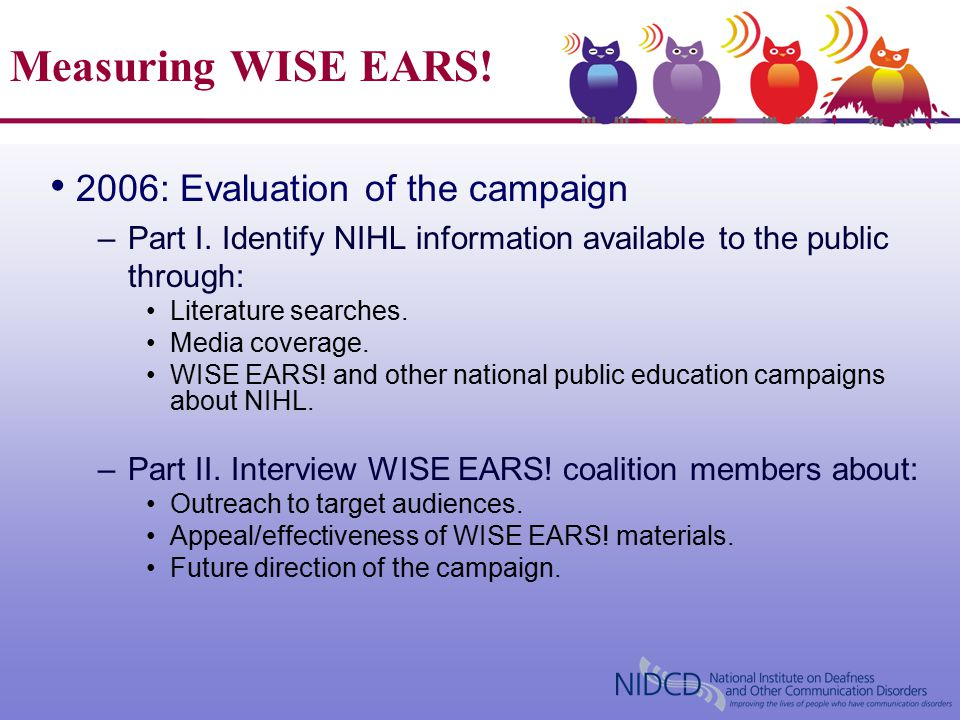 Measuring WISE EARS.2006: Evaluation of the campaign –Part I.