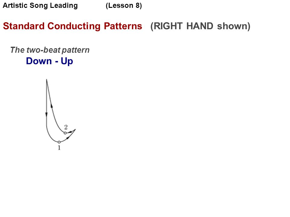 Standard Conducting Patterns (RIGHT HAND shown)‏ The two-beat pattern Down - Up Artistic Song Leading (Lesson 8)‏