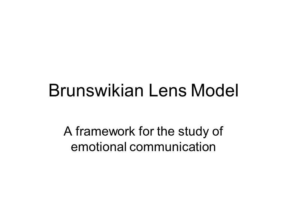 Brunswikian Lens Model A framework for the study of emotional communication