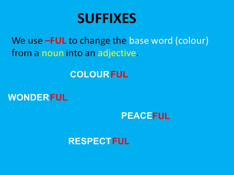 SUFFIXES We use –FUL to change the base word (colour) from a noun into an adjective.