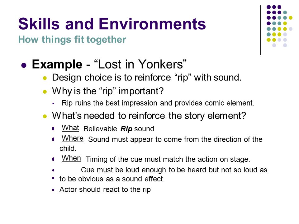 Skills and Environments How things fit together Example - Lost in Yonkers by Neil Simon Child is uncomfortable about visiting a rich relation he has not met.