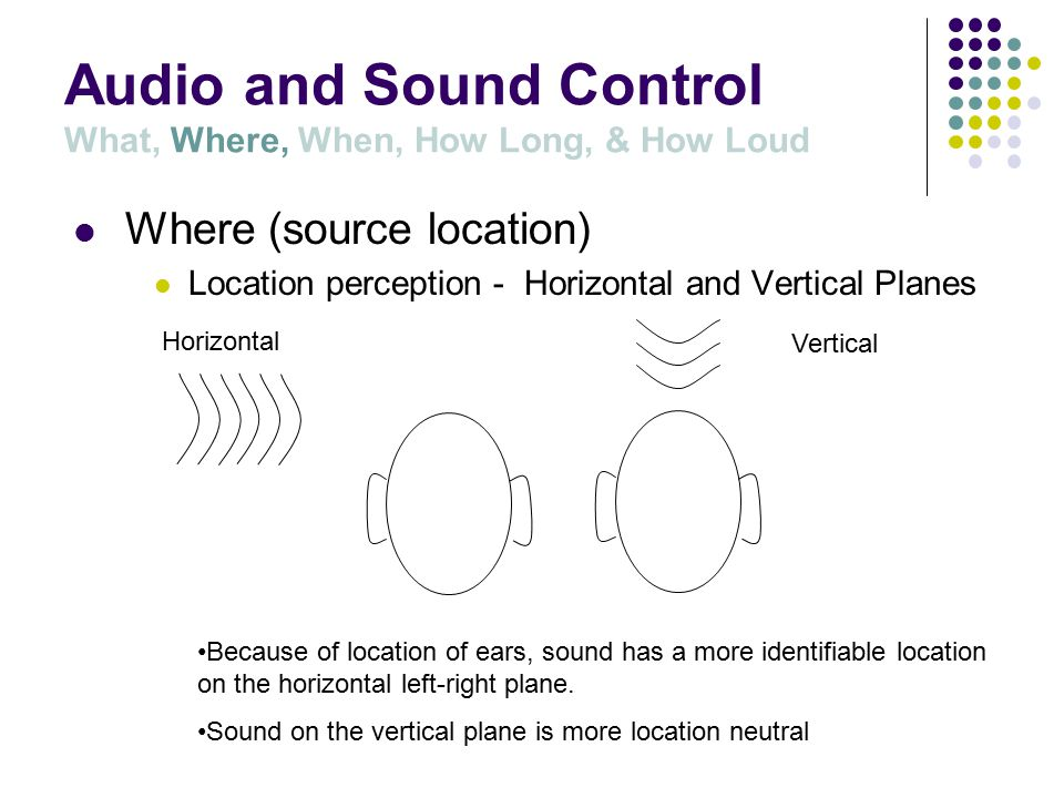 Audio and Sound Control What, Where, When, How Long, & How Loud Where (source location)  Determined by the placement of transducers (speakers) or mechanical devices that generate sound.