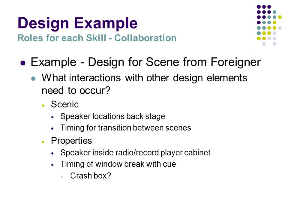 Design Example Roles for each Skill - Who does what...
