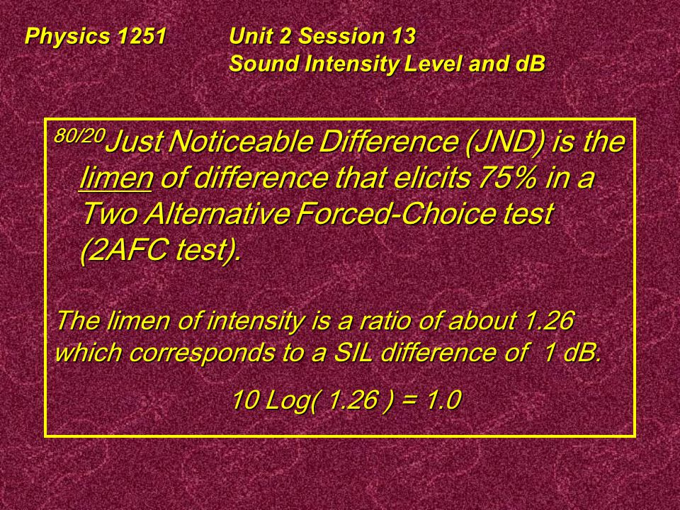 Physics 1251Unit 2 Session 13 Sound Intensity Level and dB Why 75%.