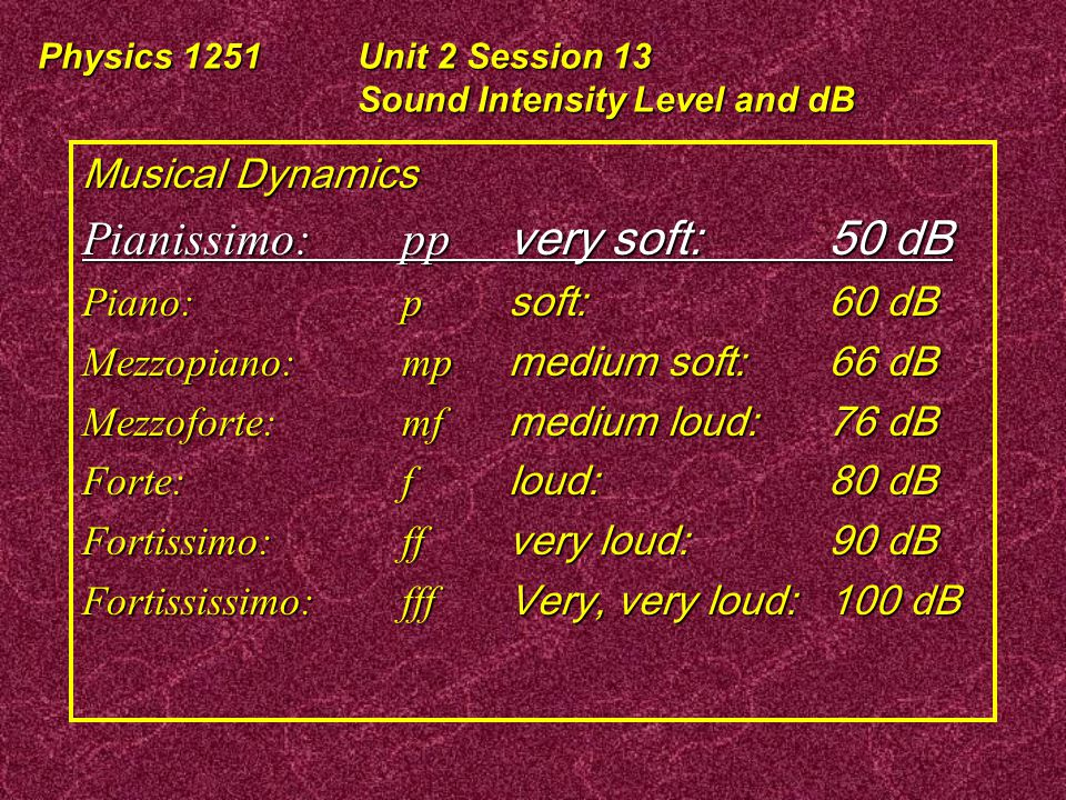 Physics 1251Unit 2 Session 13 Sound Intensity Level and dB The Mob Chorus: 1.