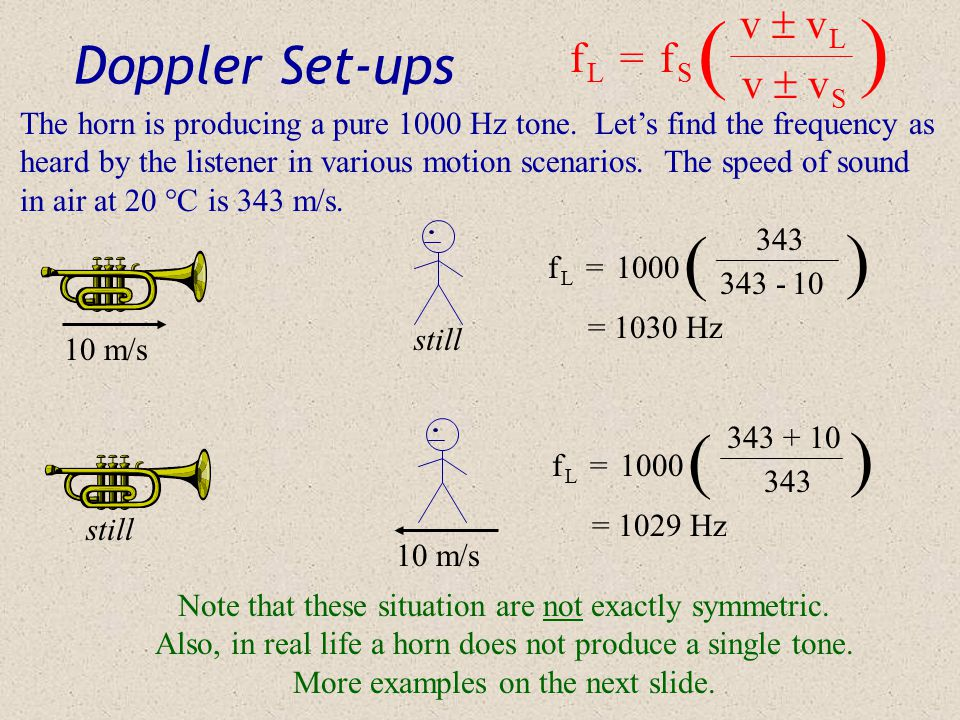 Doppler Equation f L = f S v  v L v  v S ) ( f L = frequency as heard by a listener f S = frequency produced by the source v = speed of sound in the medium v L = speed of the listener v S = speed of the source This equation takes into account the speed of the source of the sound, as well as the listener's speed, relative to the air (or whatever the medium happens to be).