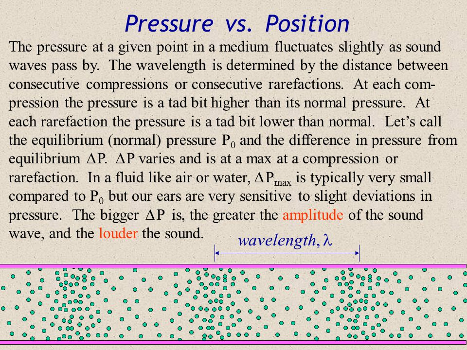 Sound Waves: Molecular View When sound travels through a medium, there are alternating regions of high and low pressure. Compressions are high pressur