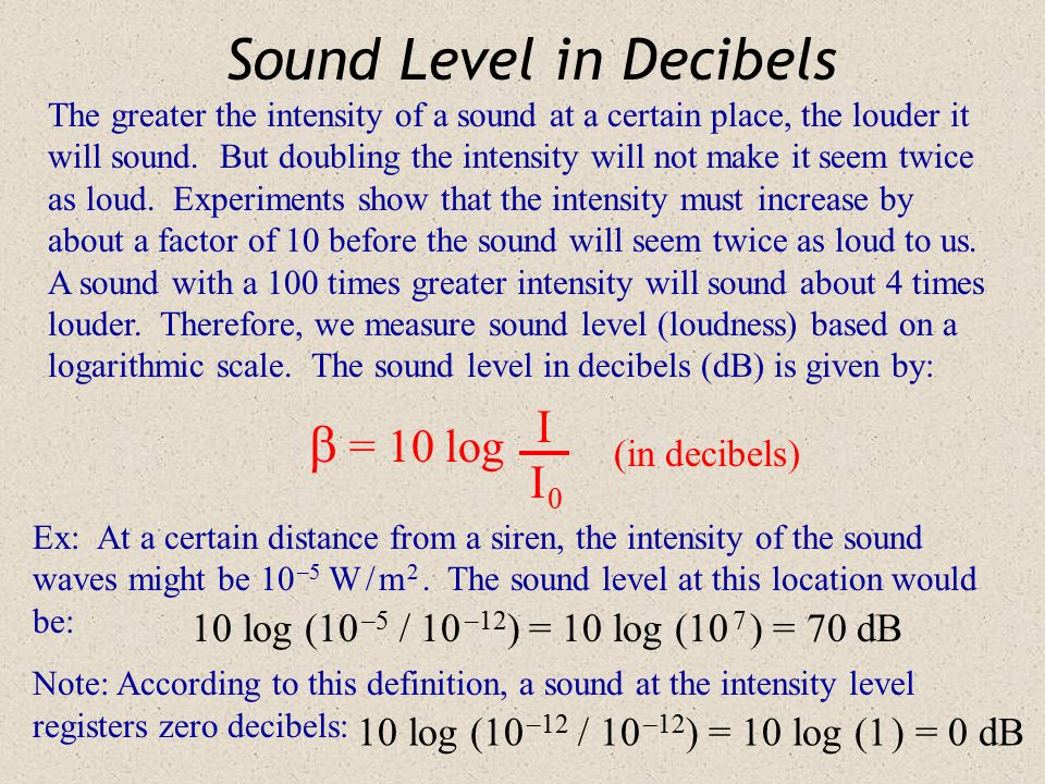 Threshold Intensity The more intense a sound is, the louder it will be. Normal sounds carry small amounts of energy, but our ears are very sensitive.