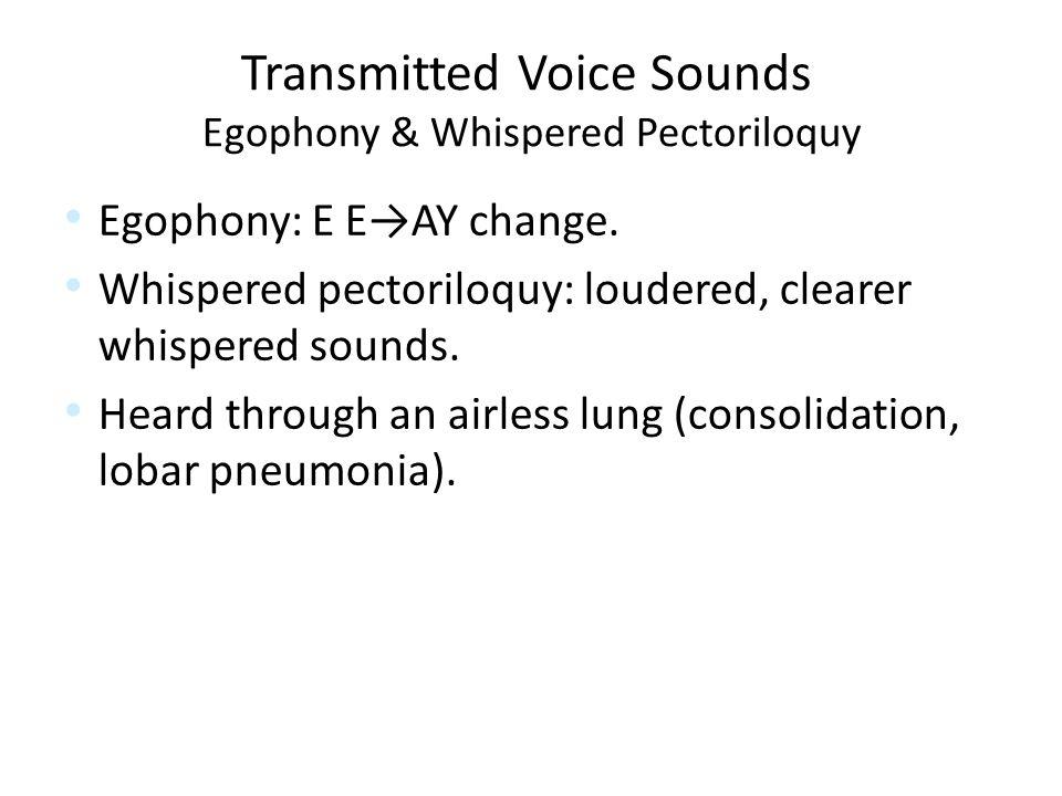 Transmitted Voice Sounds Egophony & Whispered Pectoriloquy Egophony: E E→AY change.