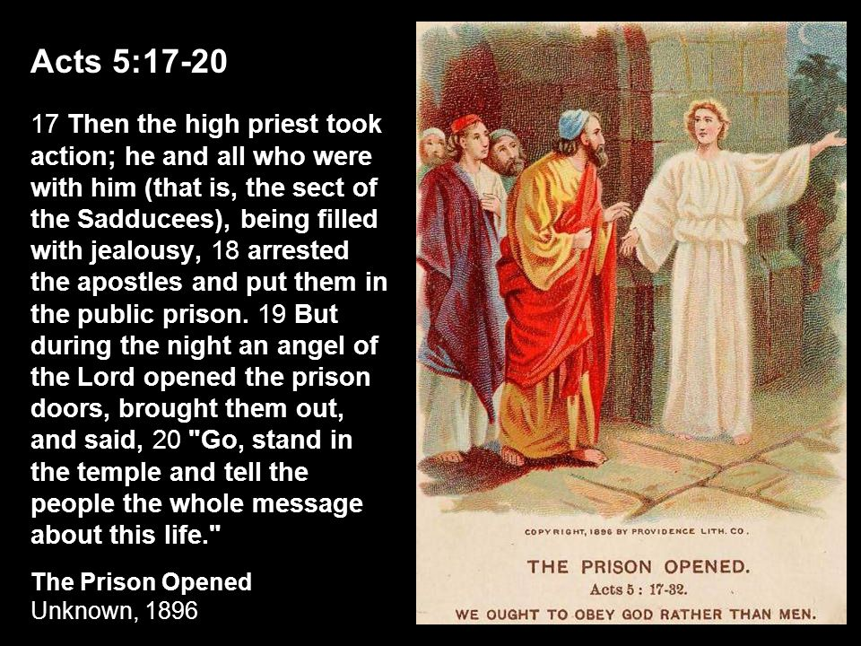 Acts 5:17-20 17 Then the high priest took action; he and all who were with him (that is, the sect of the Sadducees), being filled with jealousy, 18 ar