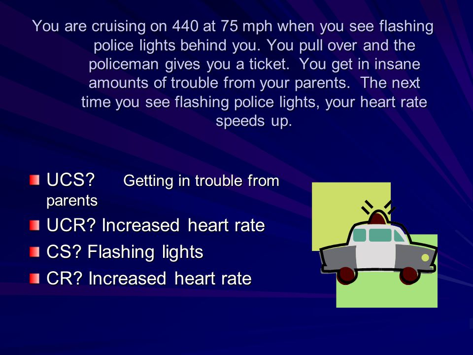 You are cruising on 440 at 75 mph when you see flashing police lights behind you. You pull over and the policeman gives you a ticket. You get in insan