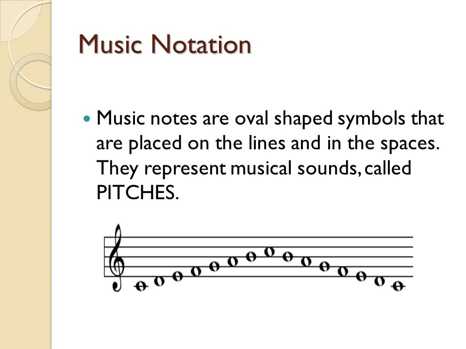 Music Notation Music notes are oval shaped symbols that are placed on the lines and in the spaces. They represent musical sounds, called PITCHES.