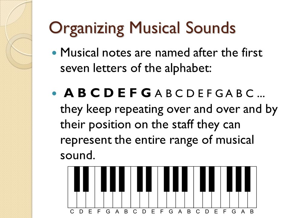 Organizing Musical Sounds Musical notes are named after the first seven letters of the alphabet: A B C D E F G A B C D E F G A B C... they keep repeat