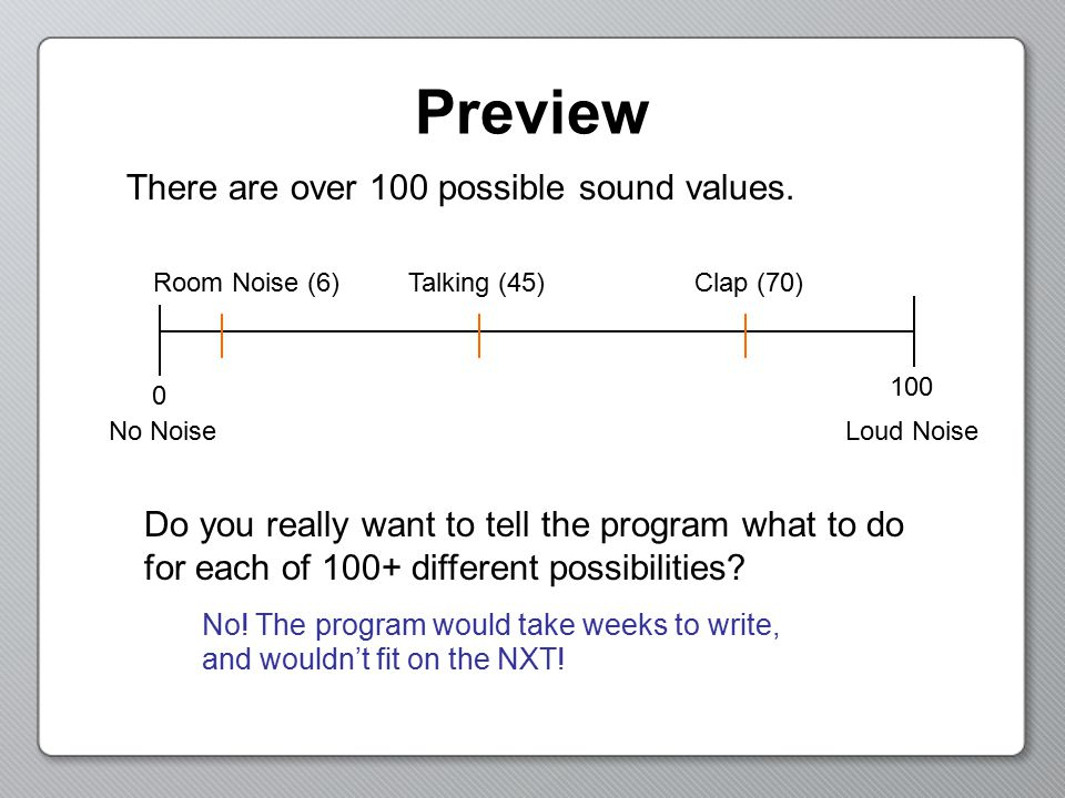 Preview There are over 100 possible sound values. Do you really want to tell the program what to do for each of 100+ different possibilities? No! The