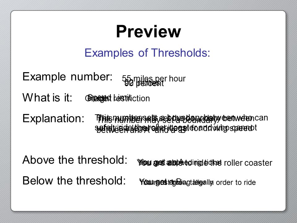 Preview Examples of Thresholds: Example number: What is it: Explanation: Above the threshold: Below the threshold: 90 percent Grade This number may se