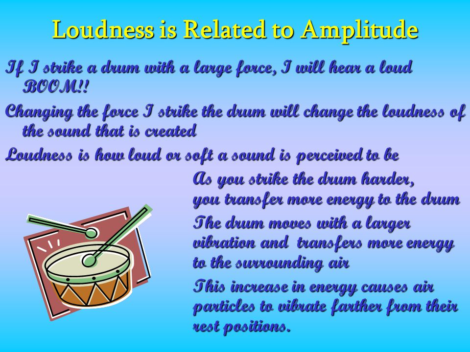 Loudness is Related to Amplitude If I strike a drum with a large force, I will hear a loud BOOM!.