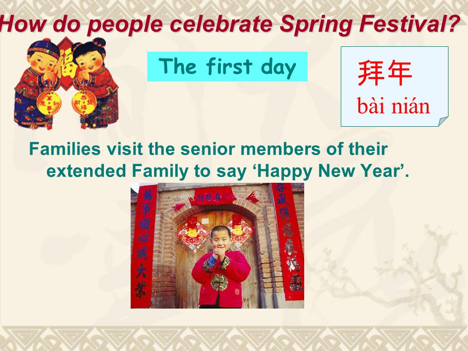 Families visit the senior members of their extended Family to say 'Happy New Year'.
