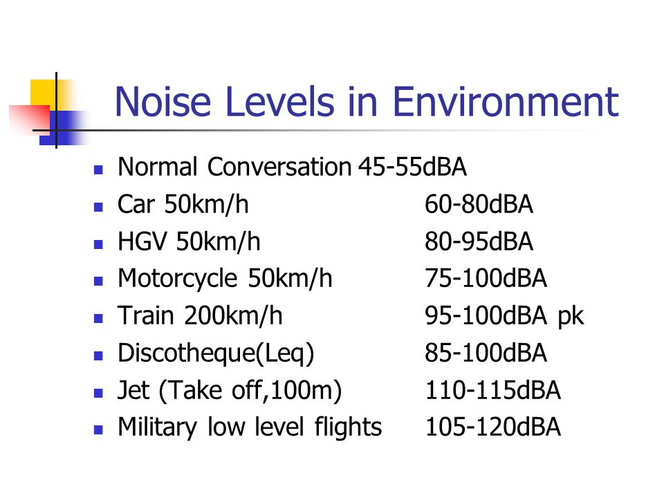 Noise and Sleep Increases time taken to fall asleep Causes awakenings and changes in sleep stages; reduces REM and slow wave sleep Sleep disturbance in turn may lead to poor performance and change in modd next day Noise sensitive individuals and elderly more vulnerable Chronic exposure leads increase of cortisol Adaptation possible but not complete habituation