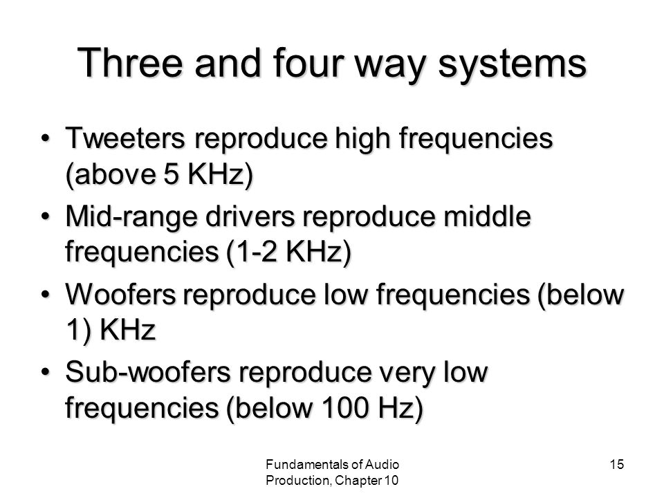 Fundamentals of Audio Production, Chapter 10 15 Three and four way systems Tweeters reproduce high frequencies (above 5 KHz)Tweeters reproduce high frequencies (above 5 KHz) Mid-range drivers reproduce middle frequencies (1-2 KHz)Mid-range drivers reproduce middle frequencies (1-2 KHz) Woofers reproduce low frequencies (below 1) KHzWoofers reproduce low frequencies (below 1) KHz Sub-woofers reproduce very low frequencies (below 100 Hz)Sub-woofers reproduce very low frequencies (below 100 Hz)