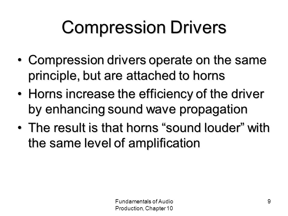 Fundamentals of Audio Production, Chapter 10 20 Impedance Electrical impedance is the reluctance for alternating current to flow in a voice coilElectrical impedance is the reluctance for alternating current to flow in a voice coil Mechanical impedance is the physical opposition for the speaker cone or diaphragm to moveMechanical impedance is the physical opposition for the speaker cone or diaphragm to move Acoustic radiation impedance refers to how efficiently the speaker moves airAcoustic radiation impedance refers to how efficiently the speaker moves air