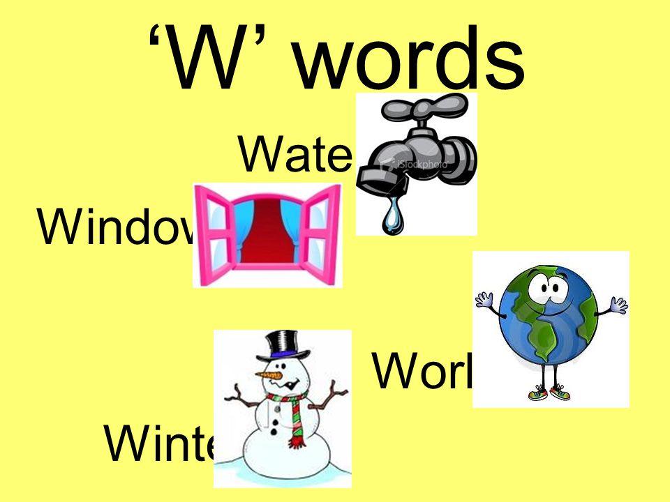 'W' words Water Window World Winter