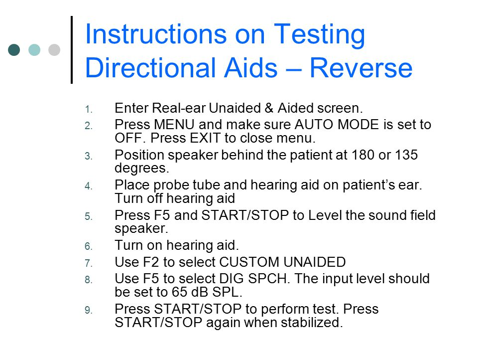 Instructions on Testing Directional Aids – Reverse 1.