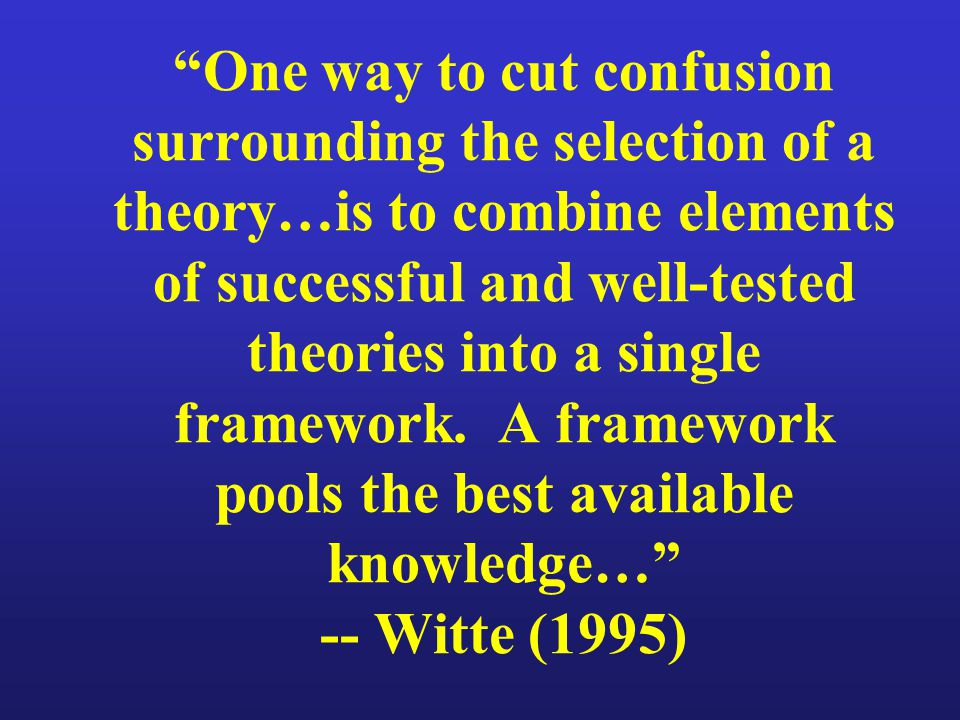 One way to cut confusion surrounding the selection of a theory…is to combine elements of successful and well-tested theories into a single framework.