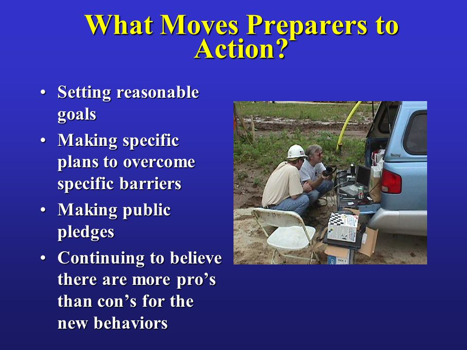 What Moves Preparers to Action? Setting reasonable goalsSetting reasonable goals Making specific plans to overcome specific barriersMaking specific pl