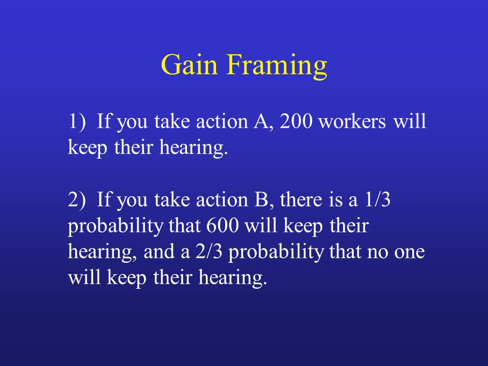 1) If you take action A, 200 workers will keep their hearing. 2) If you take action B, there is a 1/3 probability that 600 will keep their hearing, an