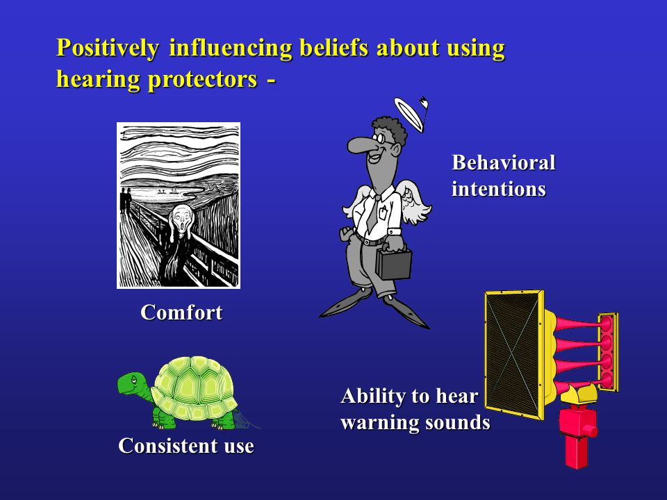 Positively influencing beliefs about using hearing protectors - Comfort Consistent use Behavioralintentions Ability to hear warning sounds