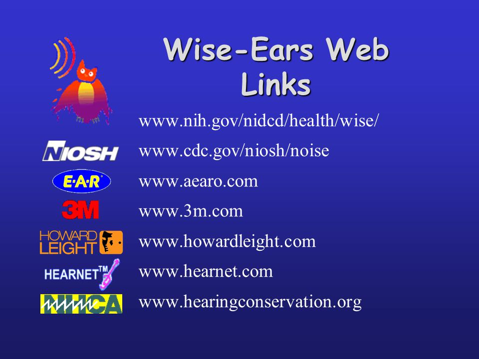 Wise-Ears Web Links www.nih.gov/nidcd/health/wise/ www.cdc.gov/niosh/noise www.aearo.com www.3m.com www.howardleight.com www.hearnet.com www.hearingconservation.org
