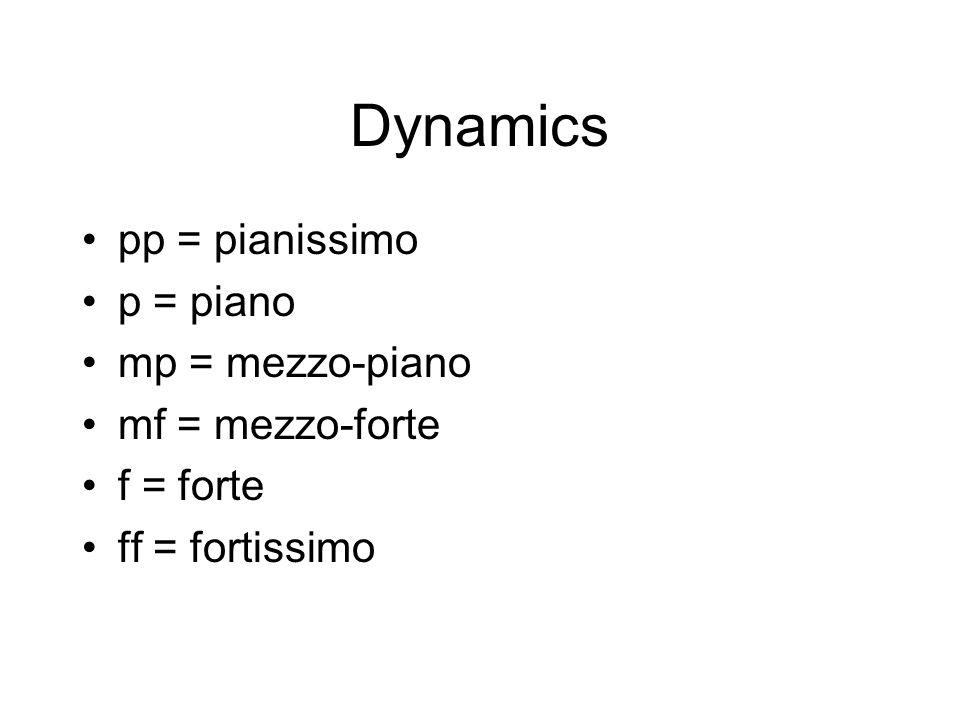 Dynamics pp = pianissimo p = piano mp = mezzo-piano mf = mezzo-forte f = forte ff = fortissimo