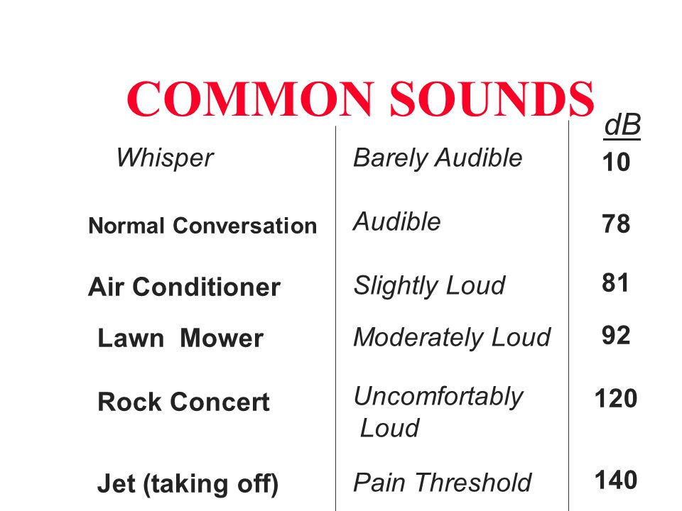 COMMON SOUNDS Whisper Normal Conversation Air Conditioner Lawn Mower Rock Concert Jet (taking off) Barely Audible Audible Slightly Loud Moderately Loud Uncomfortably Loud Pain Threshold 10 78 81 92 120 140 dB