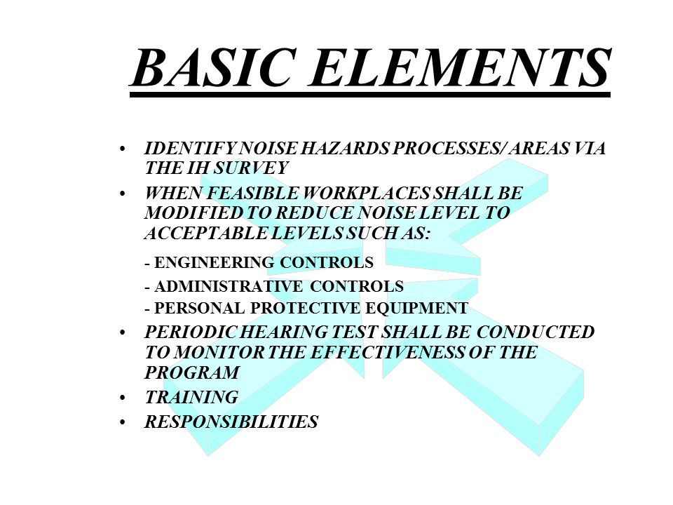 BASIC ELEMENTS IDENTIFY NOISE HAZARDS PROCESSES/ AREAS VIA THE IH SURVEY WHEN FEASIBLE WORKPLACES SHALL BE MODIFIED TO REDUCE NOISE LEVEL TO ACCEPTABLE LEVELS SUCH AS: - ENGINEERING CONTROLS - ADMINISTRATIVE CONTROLS - PERSONAL PROTECTIVE EQUIPMENT PERIODIC HEARING TEST SHALL BE CONDUCTED TO MONITOR THE EFFECTIVENESS OF THE PROGRAM TRAINING RESPONSIBILITIES