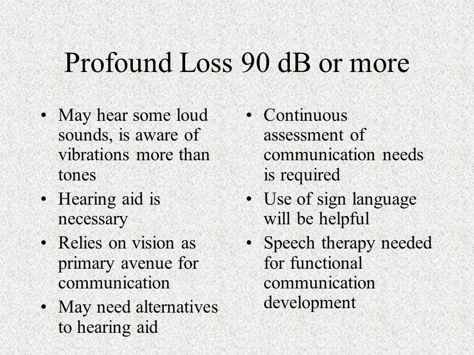 Profound Loss 90 dB or more May hear some loud sounds, is aware of vibrations more than tones Hearing aid is necessary Relies on vision as primary avenue for communication May need alternatives to hearing aid Continuous assessment of communication needs is required Use of sign language will be helpful Speech therapy needed for functional communication development