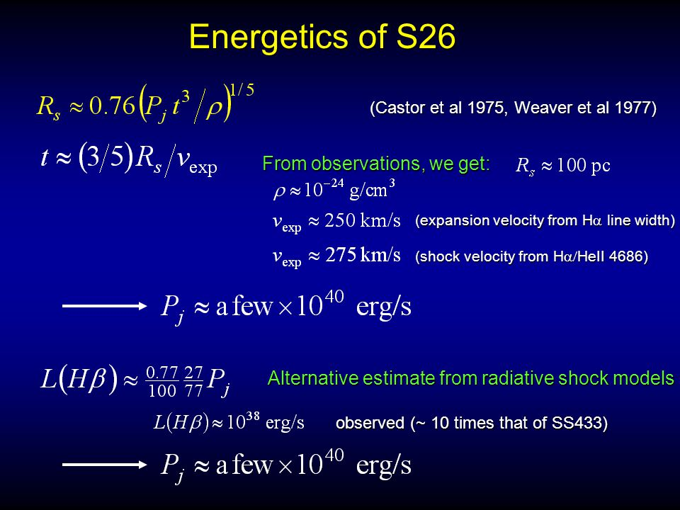 Energetics of S26 (Castor et al 1975, Weaver et al 1977) From observations, we get: (expansion velocity from H  line width) (shock velocity from H  HeII  4686) Alternative estimate from radiative shock models observed (~ 10 times that of SS433)
